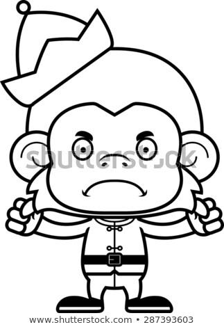 Cartoon boos kerstmis elf aap naar Stockfoto © cthoman