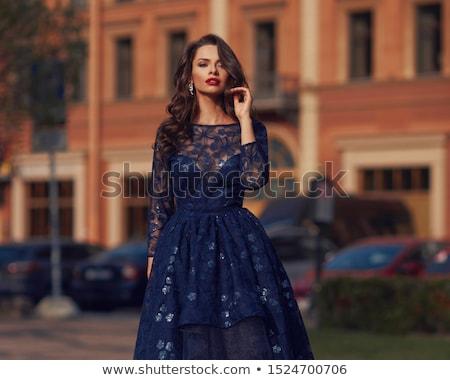 Mulher bonita azul vestido de noite posando natal decorações Foto stock © acidgrey
