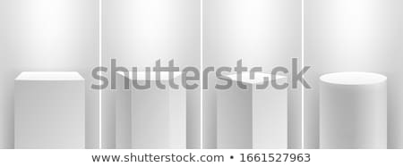 Product presentation podium, white stage, Empty white pedestal, blank template mockup. vector stock photo © Andrei_