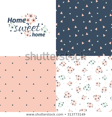 vector floral pattern in doodle style with flowers and leaves spring background stock photo © natali_brill