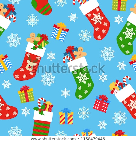 fun vector seamless pattern with christmas and winter clothes in pink white and blue colors stock photo © pravokrugulnik