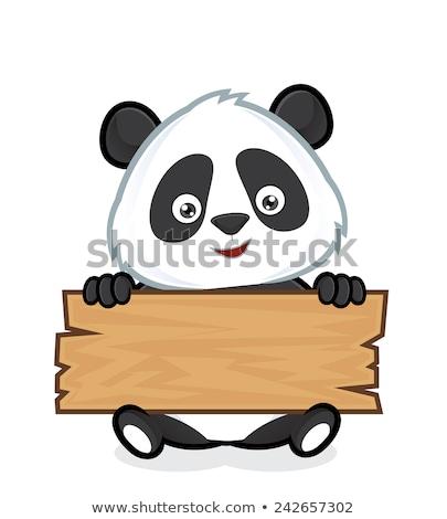 panda · rajz · üres · tábla · baba · arc · boldog - stock fotó © cthoman