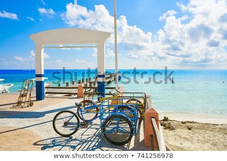 Puerto Morelos beach boats pier Mayan Riviera Stock photo © lunamarina