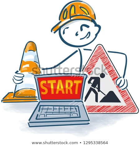 stick figure with laptop a street cap and construction sign with start stock photo © ustofre9