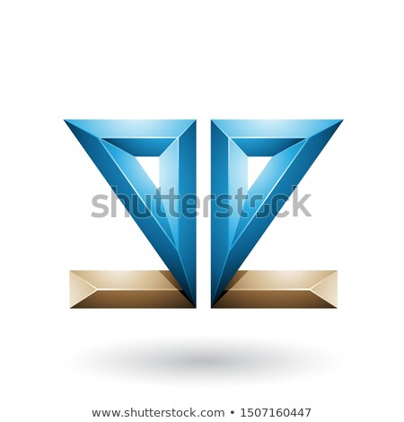 Blue and Beige 3d Geometrical Double Sided Embossed Letter E Vec Stock photo © cidepix