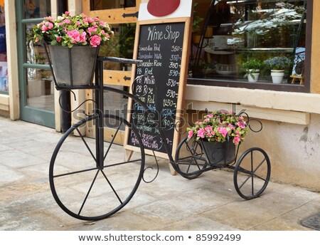 Kávéház kék tető illusztráció háttér étterem Stock fotó © colematt