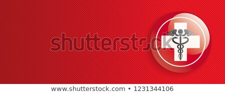 Red Banner Protection Emergency Cross Aesculapian Staff Stock photo © limbi007
