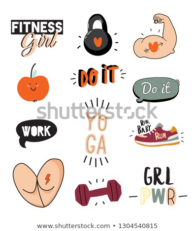 Sport and Diet Exercises Poster Vector Illustration Stock photo © robuart