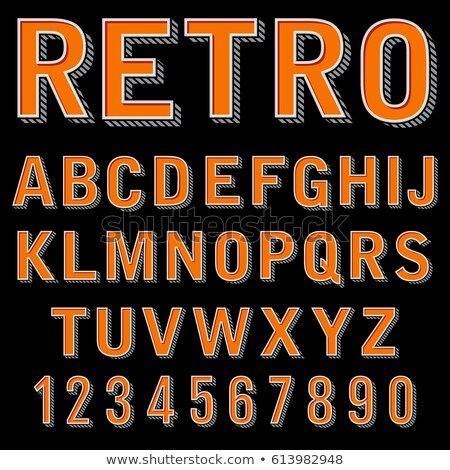 volumetric vintage alphabet font vector illustration set 3 stock photo © tashatuvango