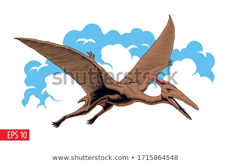 A Comic Dinosaurs Flight  on White Background Stock photo © colematt