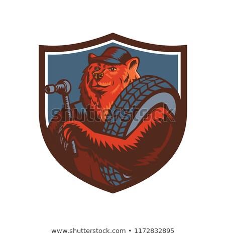 Russian Bear Tireman Shield Mascot Stock photo © patrimonio