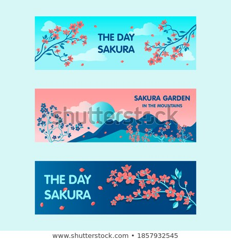 Sale Web Posters with Spring Blooming Flowers Set Stock photo © robuart