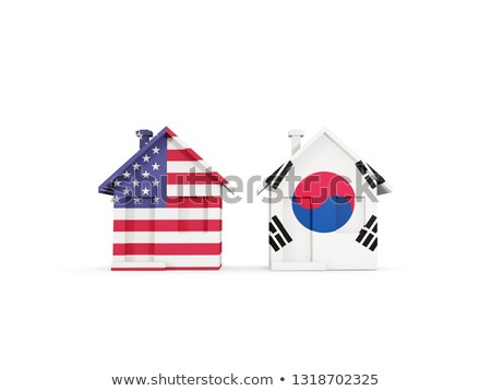 two houses with flags of united states and south korea stock photo © mikhailmishchenko