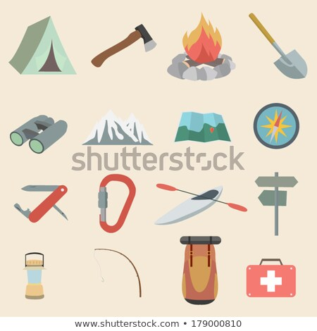 flat design icon of camping shovel stock photo © angelp