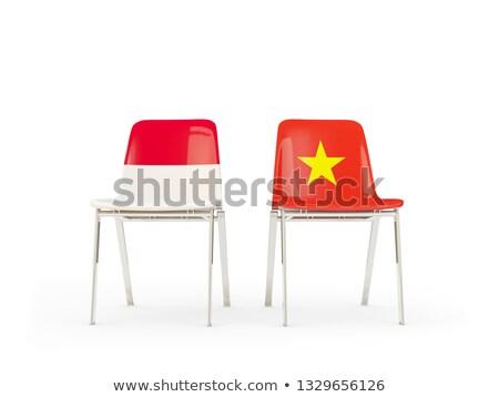 два стульев флагами Индонезия Вьетнам изолированный Сток-фото © MikhailMishchenko