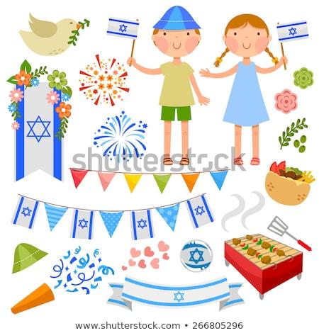 израильский день темам набор дети флагами Сток-фото © ayelet_keshet