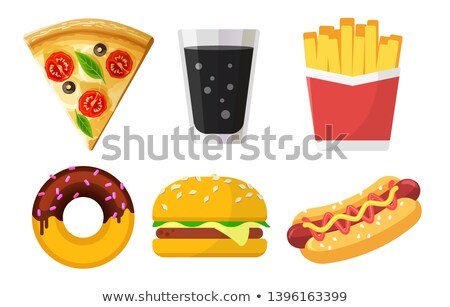 set of colorful fast food icons for web sites and apps pizza soda french fries donut hamburger stock photo © marysan