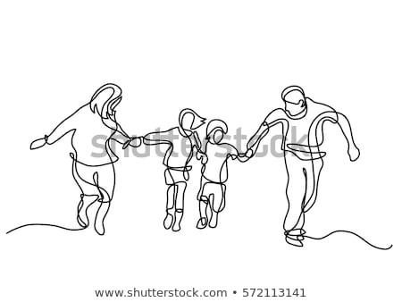 firka · grafikus · család · illusztráció · kéz · háttér - stock fotó © colematt