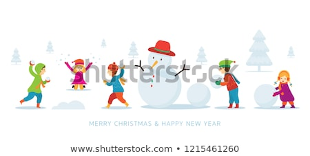 Children playing with snowman in the snow  stock photo © colematt