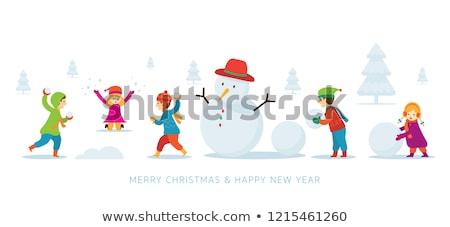 crianças · jogar · boneco · de · neve · neve · ilustração · criança - foto stock © colematt
