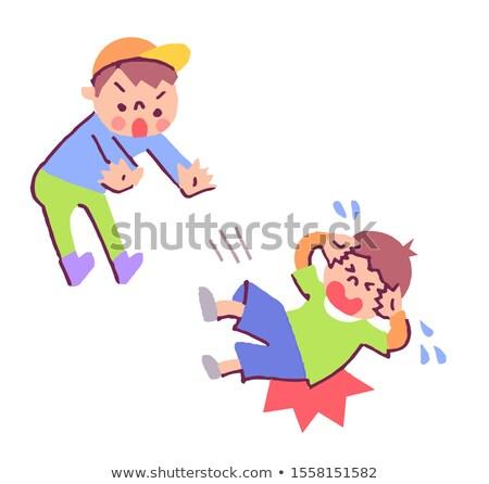 Bully boy pushing friend Stock photo © colematt