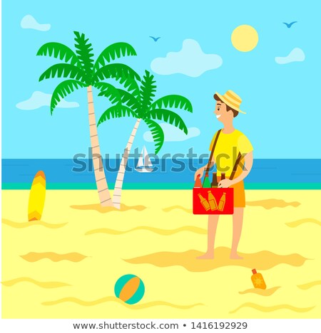Tourism Summer Vacation Beach and Seller with Soda Stock photo © robuart