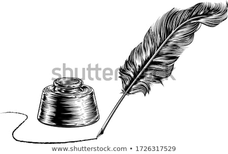 Writing Feather Quill Ink Pen and Inkwell Stock photo © Krisdog