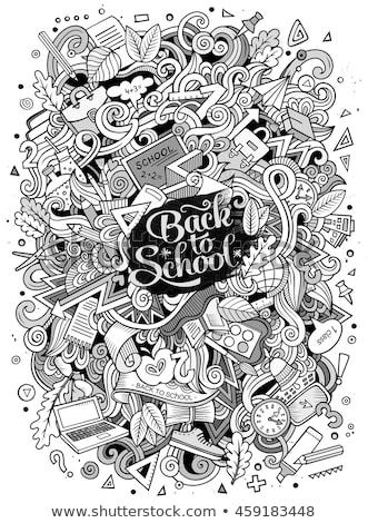 Cartoon doodles School illustration. education funny picture Stock photo © balabolka