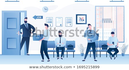 Stockfoto: Interview · werving · zakenman · portefeuille · verslag
