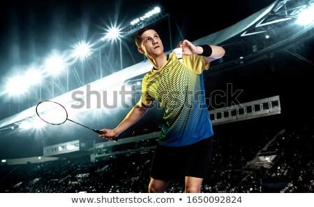 Badminton speler racket vogeltje geïsoleerd Stockfoto © robuart