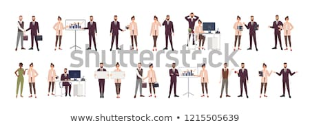 Cartoon Male Characters Discussing Business Issues Stock photo © robuart