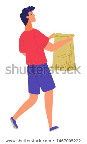 Male Carrying Burlap, Agricultural Work Vector Stock photo © robuart