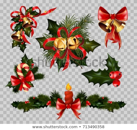 Christmas holiday decoration garland of golden jingle bells Stock photo © LoopAll