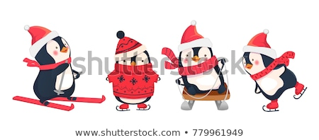 penguins skating on ice in winter stock photo © adrenalina