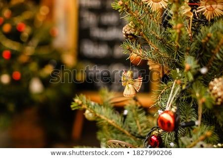 árvore · de · natal · eco · decoração · palha · natal · ano · novo - foto stock © furmanphoto