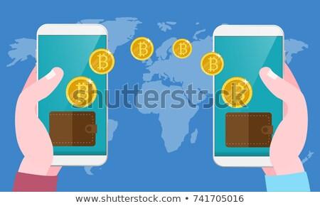 Bitcoinの 転送 ウォレット 手 スマートフォン 送信 ストックフォト © benzoix