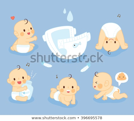 A sad little boy unhappy on diaper Stock photo © Lopolo