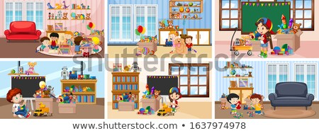 Six scenes with children doing activities in different rooms Stock photo © bluering