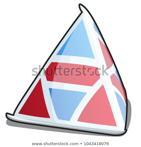 A single triangle carton package of milk with texture blue and red color isolated on a white backgro Stock photo © Lady-Luck