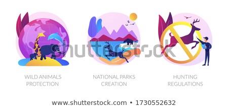 Stock fotó: Wildlife Defence Fauna Care Environmental Conservation Vector Concept Metaphor