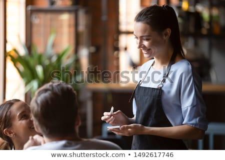 Alimentação fora café restaurante visitante garçom Foto stock © robuart