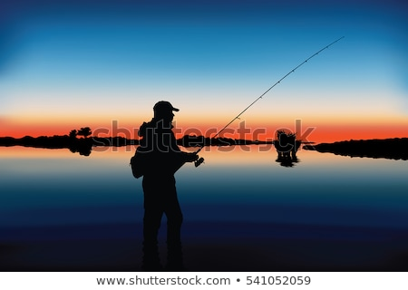 silhouette of a fisherman on beach at sunrise stock photo © bbbar