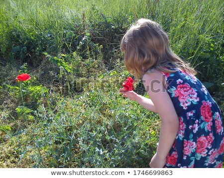 Beautiful girl with flower in hair on the grass leaning the hand Stock photo © pekour