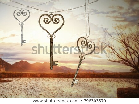 3d golden hearts over clouds stock photo © marinini