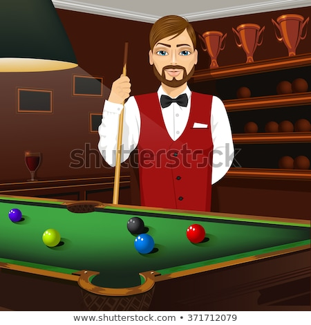 Stock photo: Billiard handsome young man with shirt cue and tie