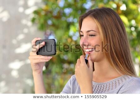 meisje · dressing · omhoog · home · gelukkig · meisje · grappig - stockfoto © ssuaphoto