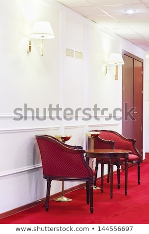 red modern interior with furniture two armchairs and comfort so stock photo © victoria_andreas