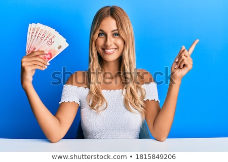 Happy Smiling  blonde young woman presentation, hands Stock photo © Victoria_Andreas