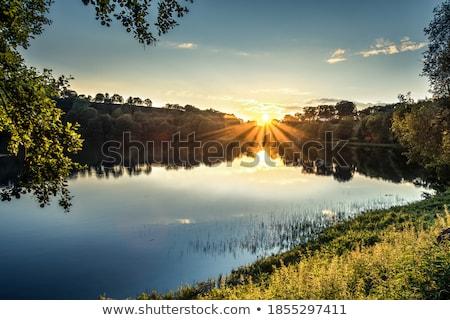 のどかな · 湖 · 村 · 水辺 · 表示 · 風景 - ストックフォト © prill