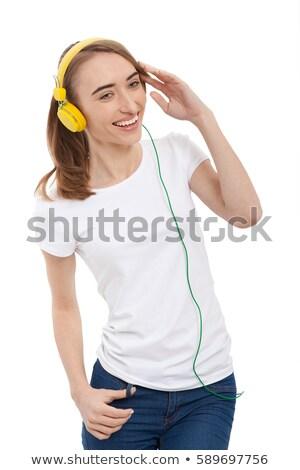 teen · blau · Shirt · Kopfhörer · cute · teen · girl - stock foto © lisafx